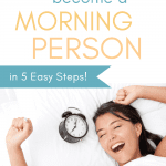 Smart Living Mama pinterest pin of a woman waking up to her alarm clock