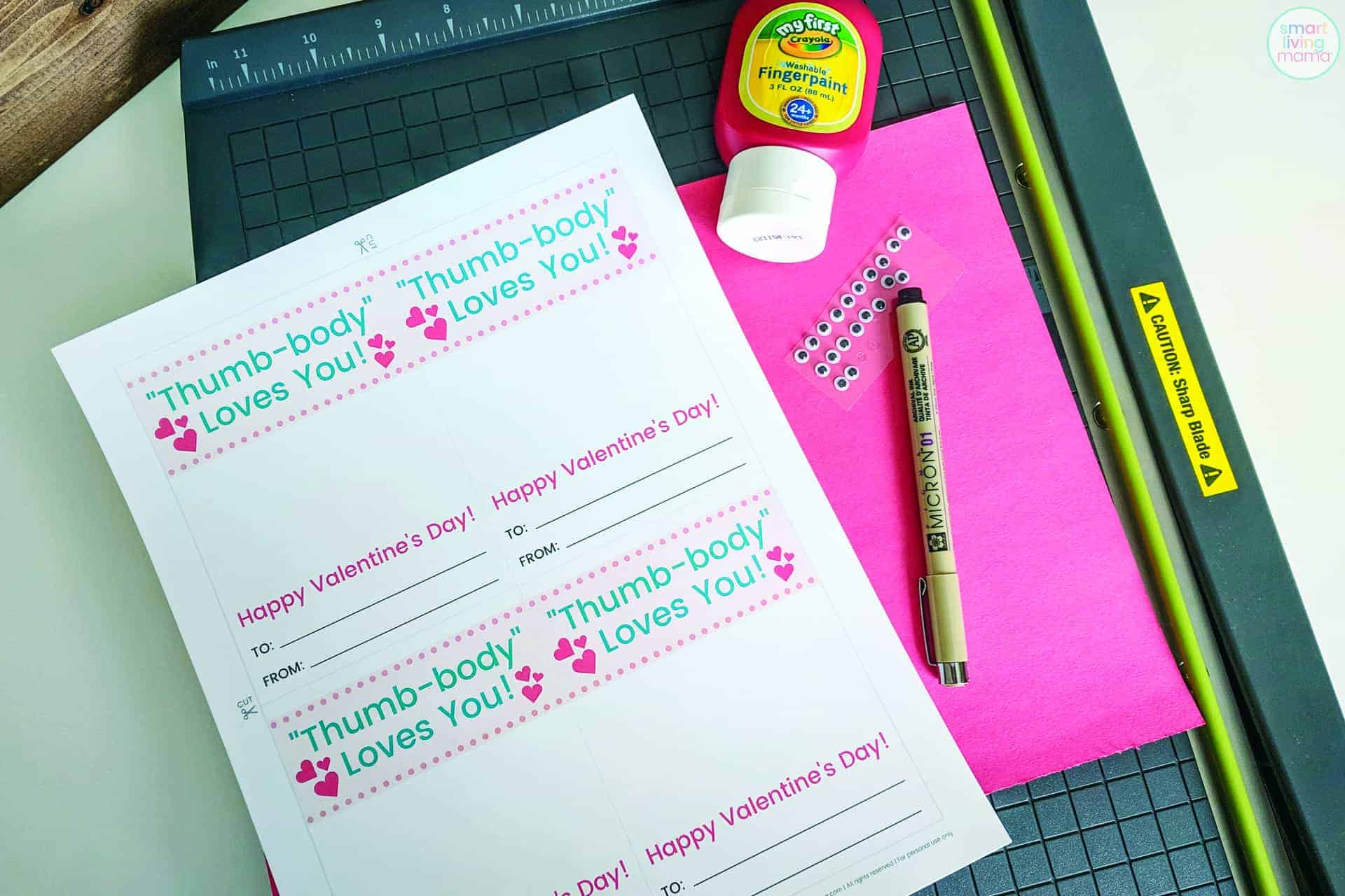 Smart Living Mama Valentine's Day Thumbprint Cards - Supplies
