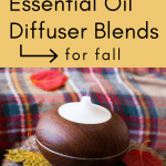 smart living mama pinterest pin with a diffuser and fall leaves laying around it