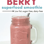 Smart Living Mama pinterest pin with a banana berry smoothie picture