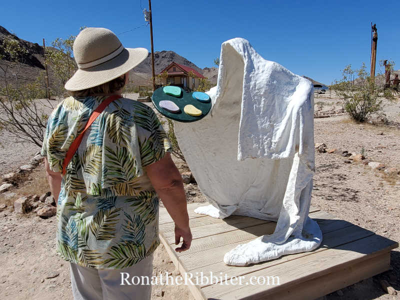 Painter sculpture at Goldwell outdoor museum near Beatty Nevada.