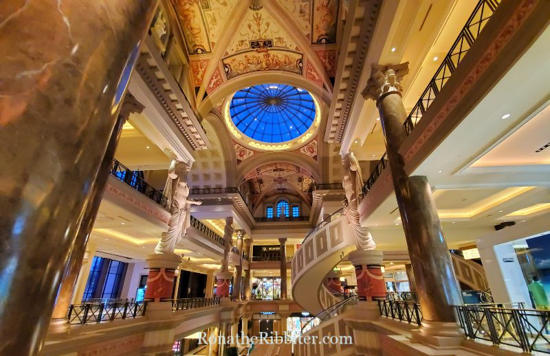 Quilting in Las Vegas, Multi level floors and painted ceiling inside Caesars Palace
