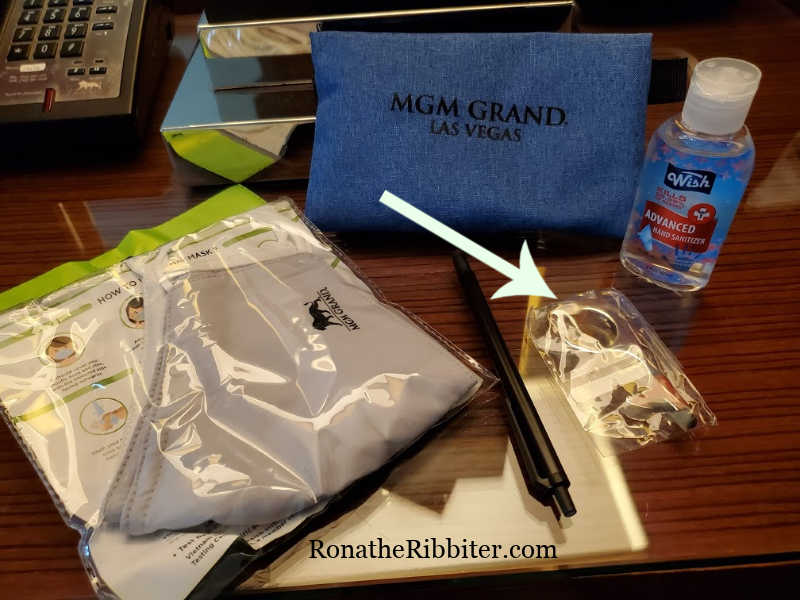 MGM Grand travel safety pouch contents - travel tips during COVID Road Trip safety tips COVID