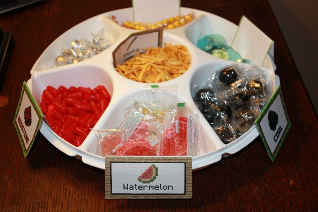 Candy tray for Minecraft birthday party