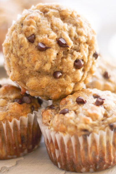 healthy banana oat muffins on a counter