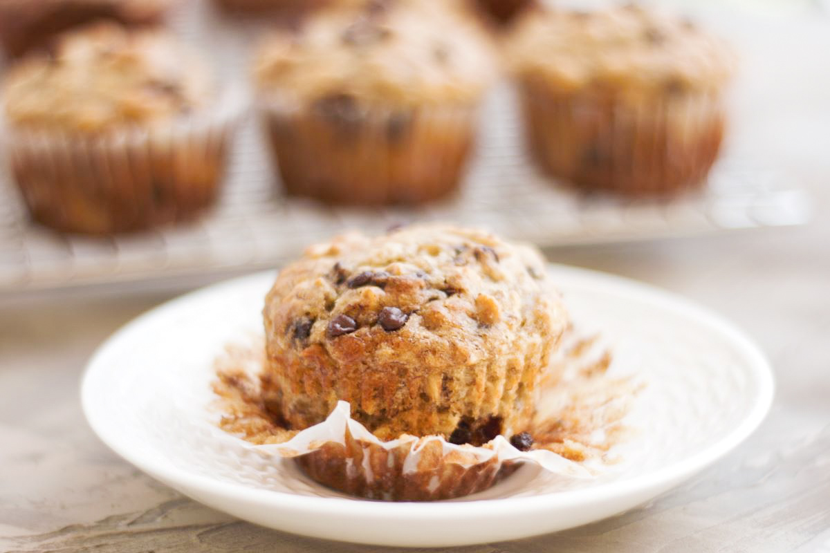 a banana muffin on a plate