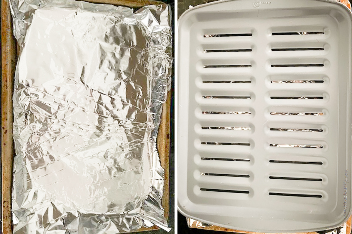 showing the process of lining a baking pan and placing a broiler pan over the top