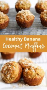 pinterest graphic of banana coconut muffins
