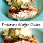 stuffed chicken with mashed potatoes and mushroom gravy in a blue dish