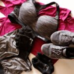 workout gear including shorts, sports bra, socks, shoes, tank and gloves