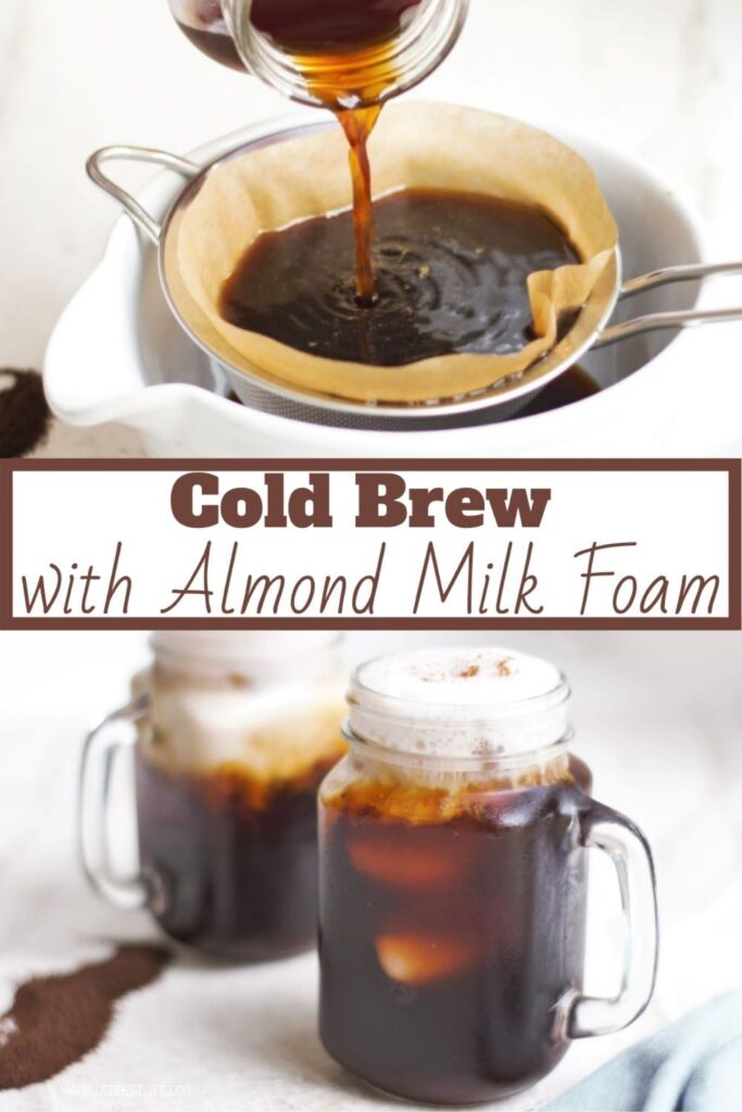 Graphic with mugs of cold brew with almond milk foam.
