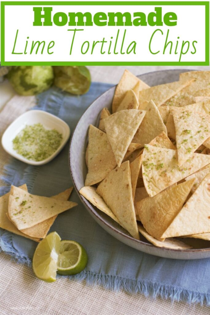 A graphic of homemade lime tortilla chips