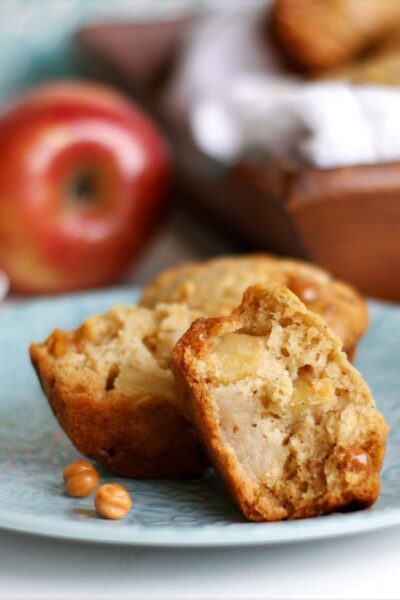 a plate with caramel apple muffins