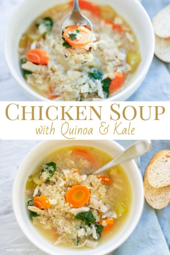 graphic of chicken soup with quinoa and kale