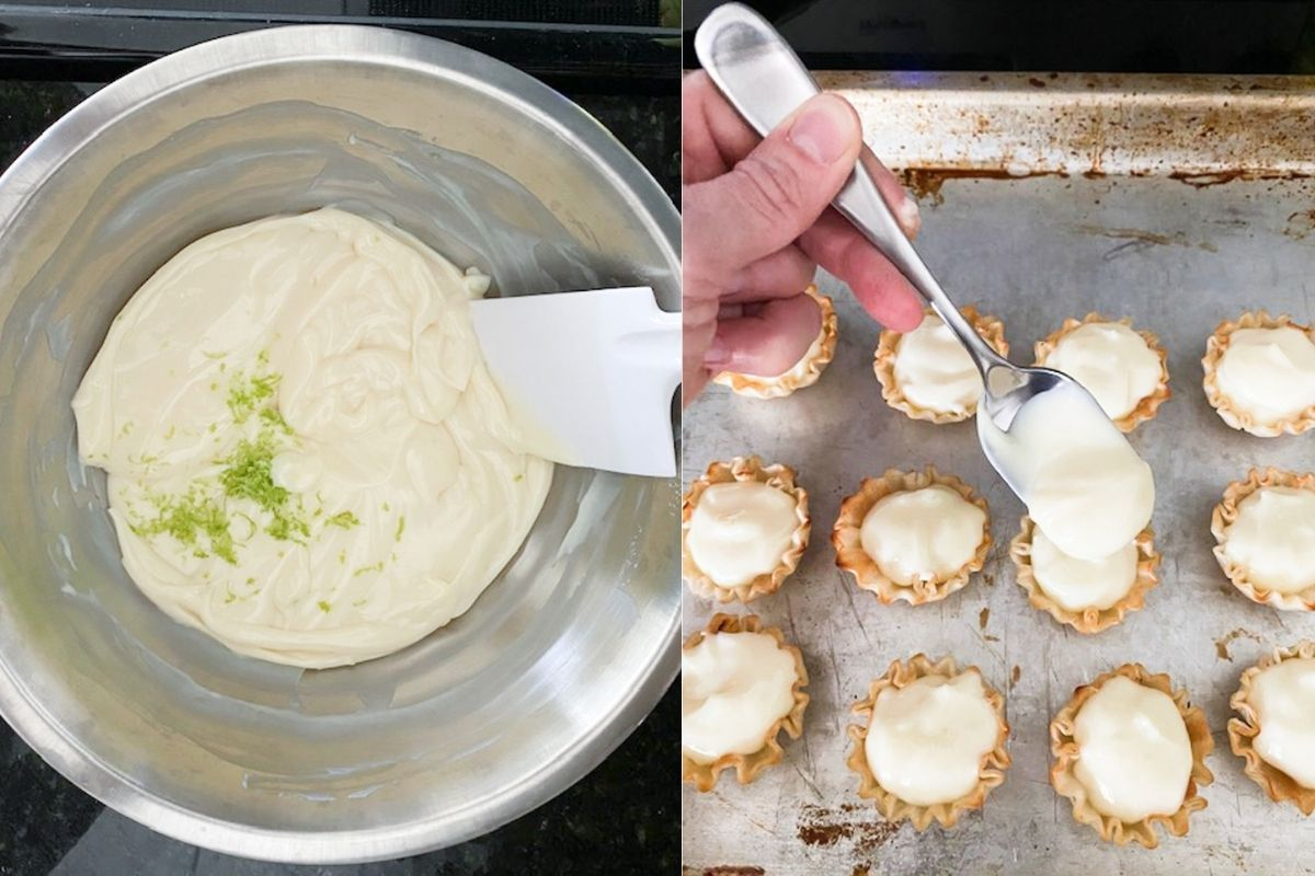 making the key lime filling and spooning it into the phyllo shells