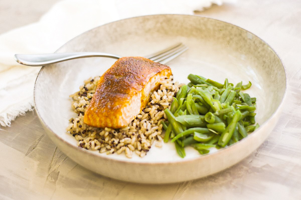 Moroccan Spiced Salmon with rice and green beans