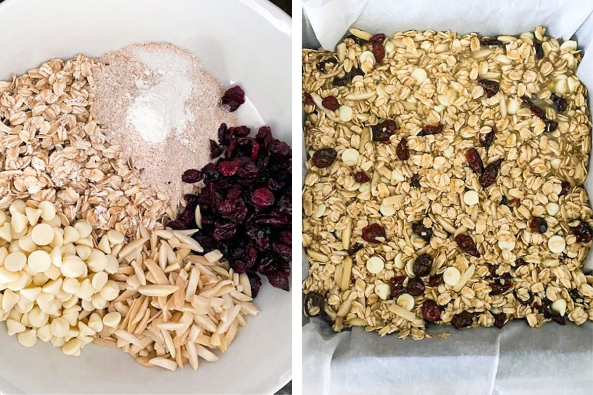 Ingredients for white chocolate cranberry bars
