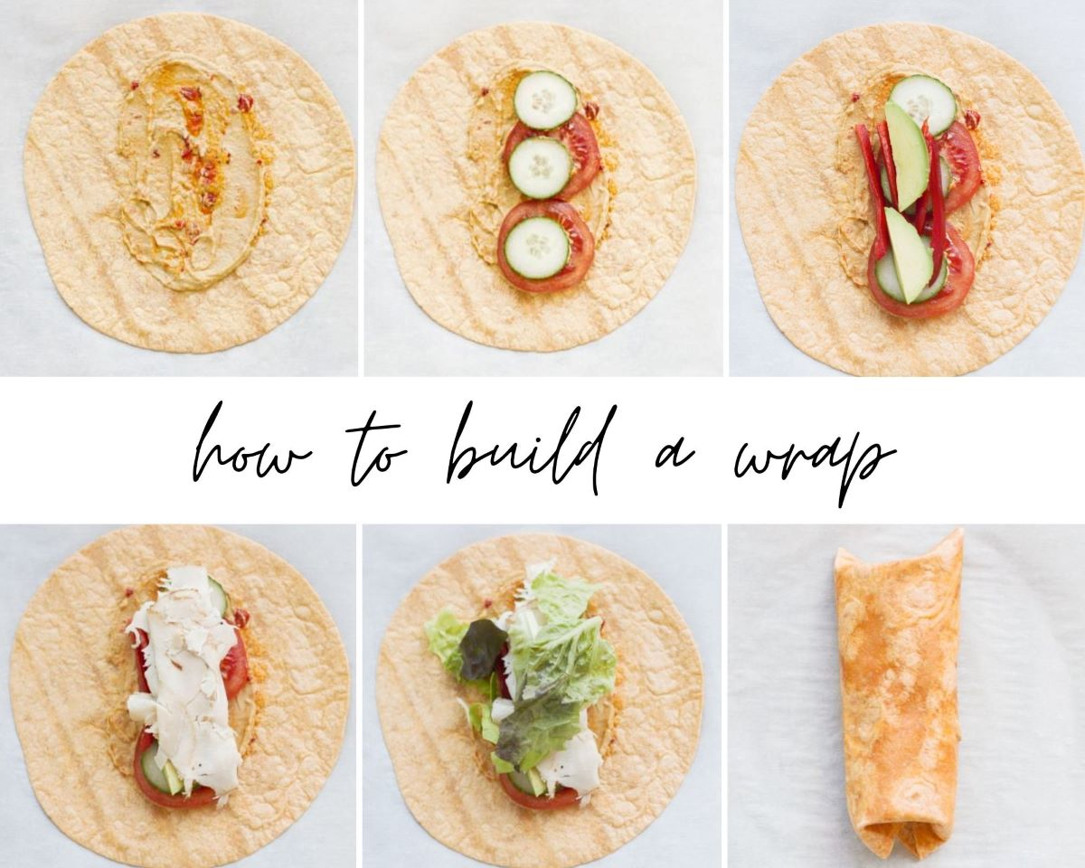 A picture collage showing how to build turkey hummus wraps