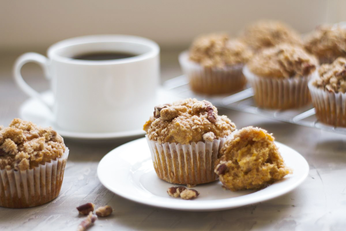 a plate with sweet potato muffins and a cup of coffee