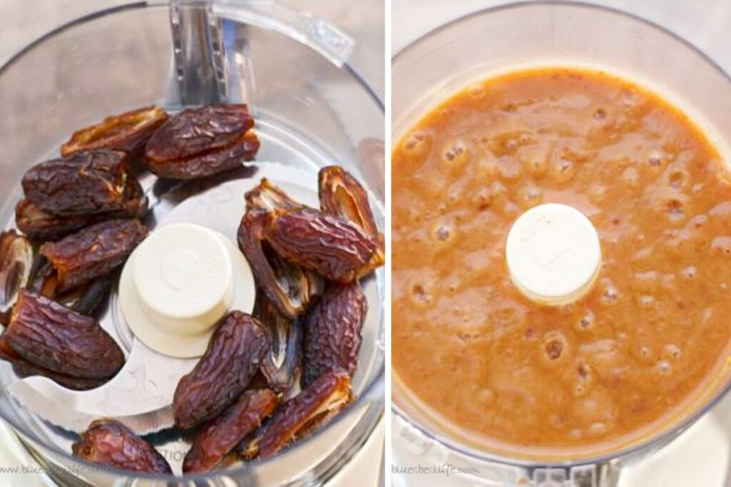 Dates in a food processor and then date paste after they have been blended