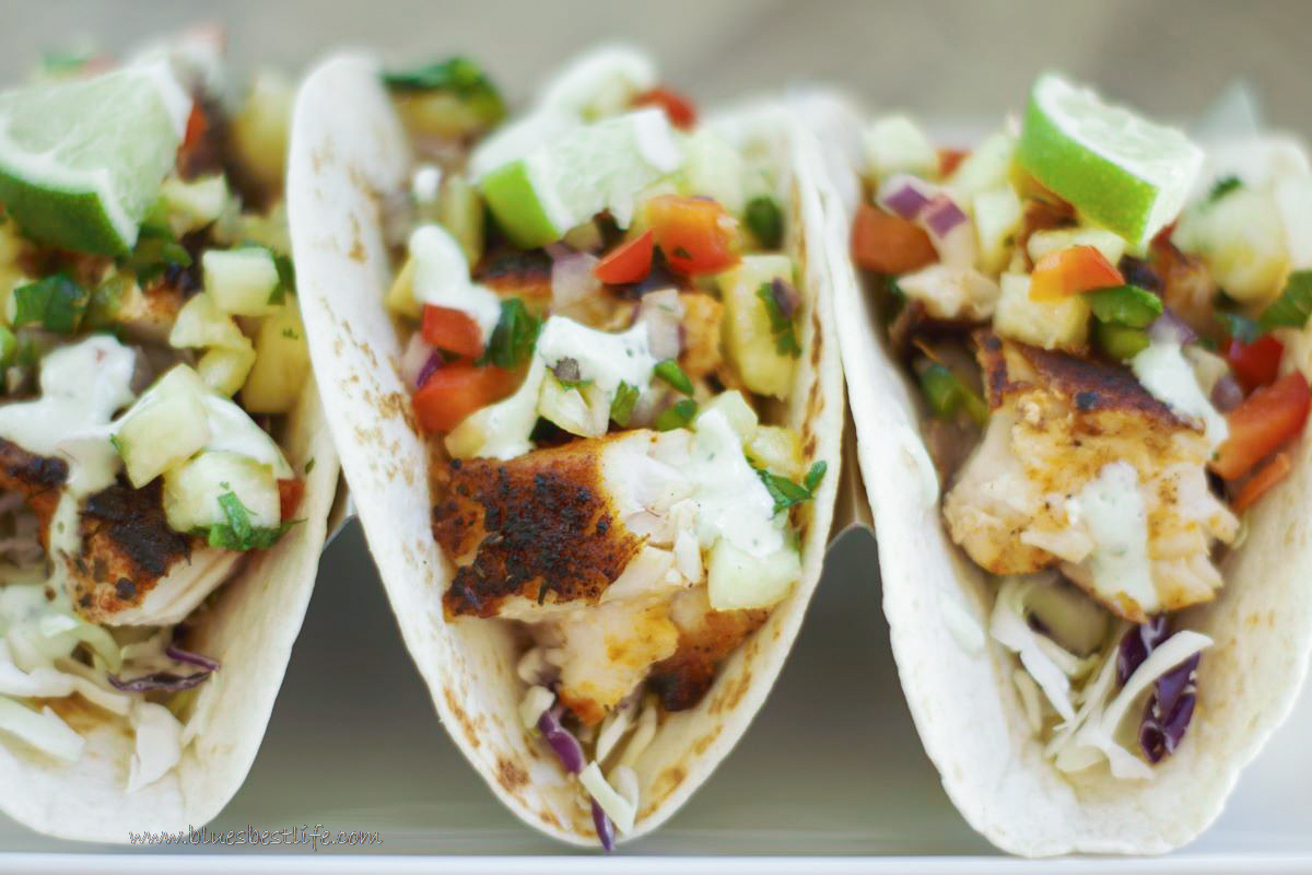 blackened fish tacos with pineapple salsa and jalapeno remoulade