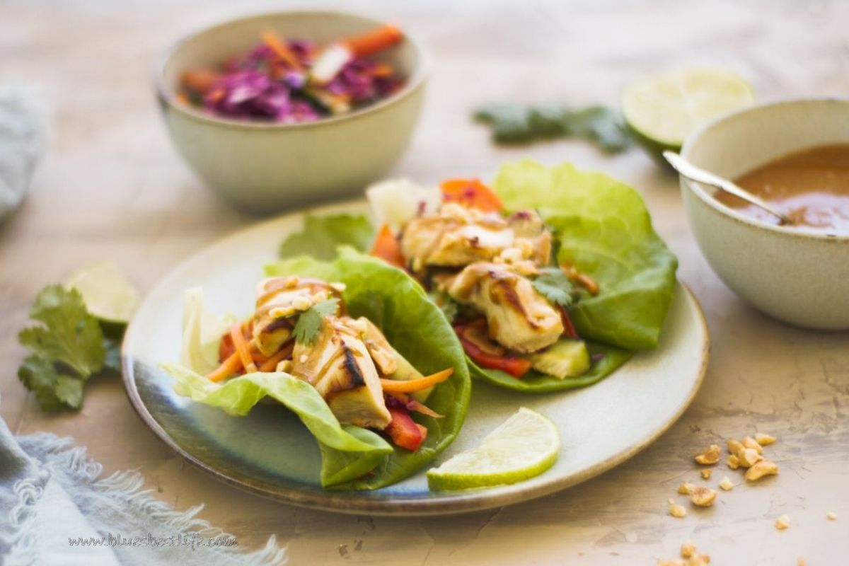 A plate with Thai Chicken Lettuce Wraps