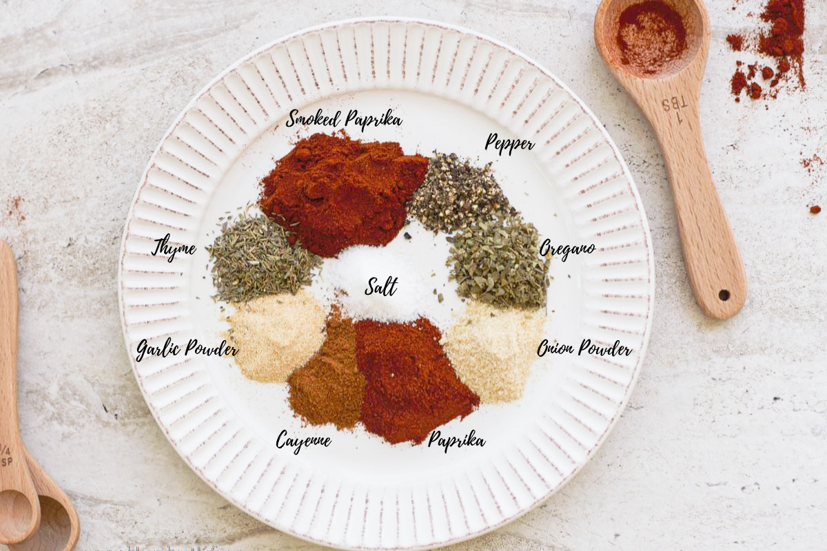 Blackening spices on a plate labeled