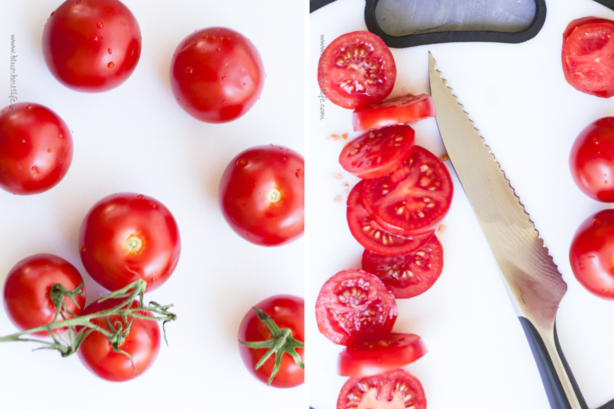 tomatoes with a serrated knife showing how to slice for a caprese salad