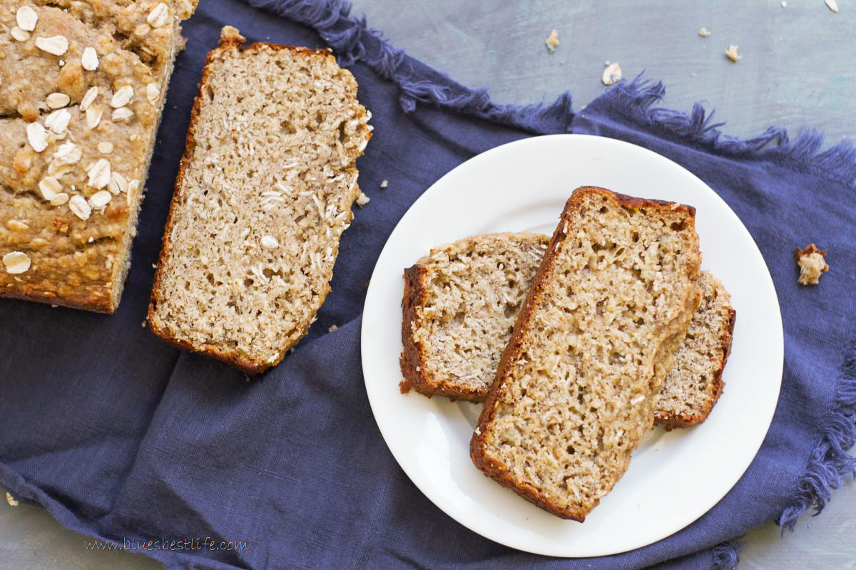 Slices of banana oat bread on a plate.