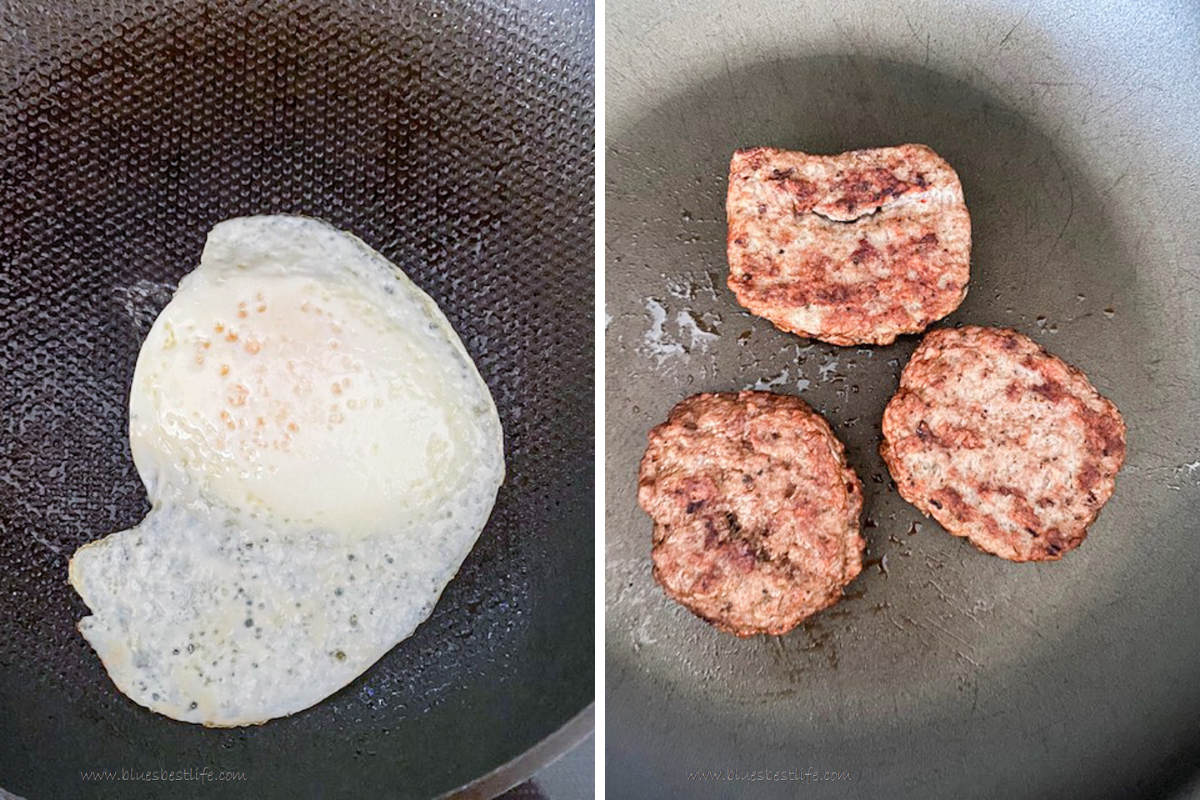 fried egg and turkey sausage