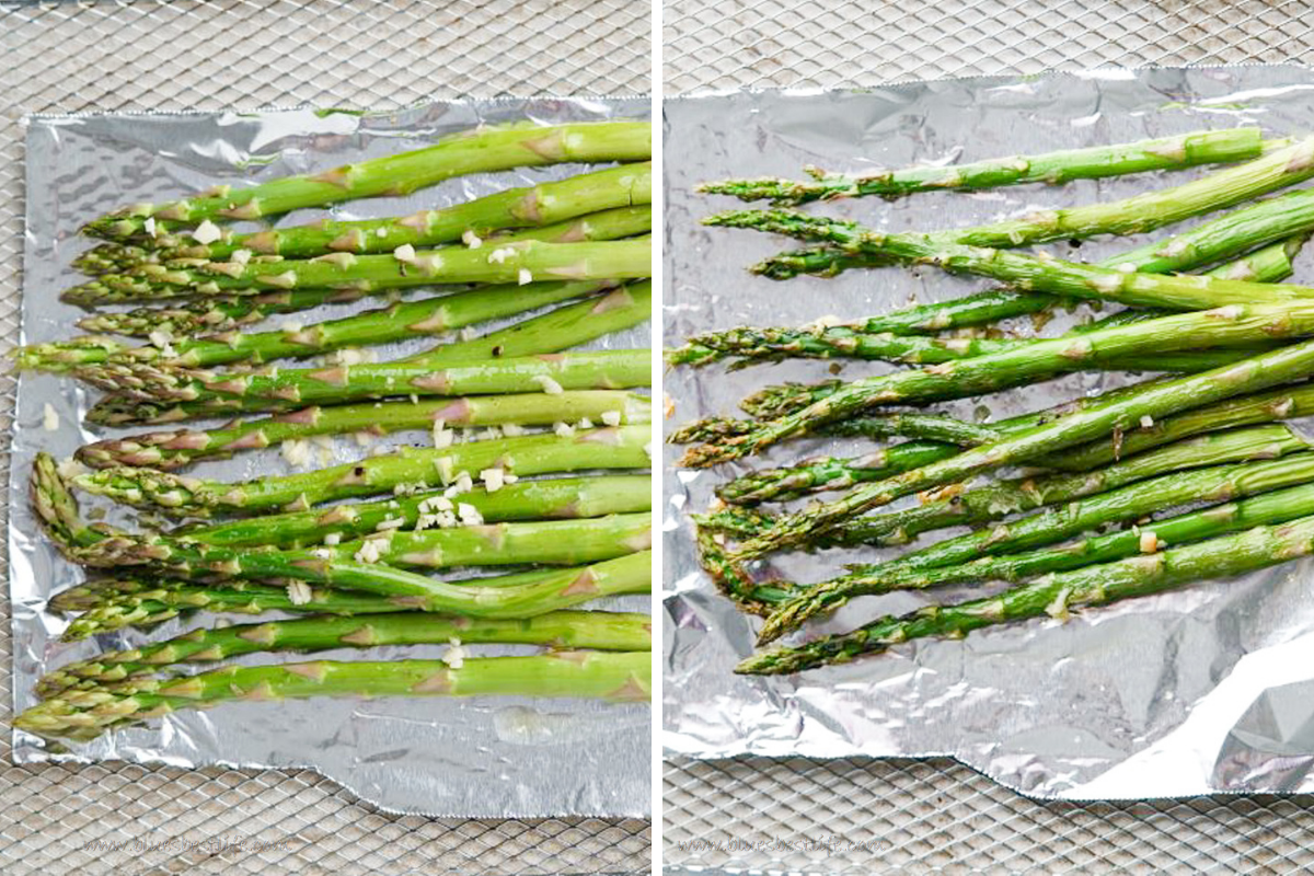 Asparagus before and after being roasted in an air fryer