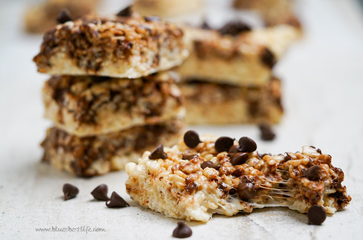 a stack of rice Krispie treats with chocolate chips