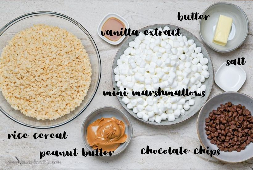 All of the ingredients needed for peanut butter Rice Krispie treats