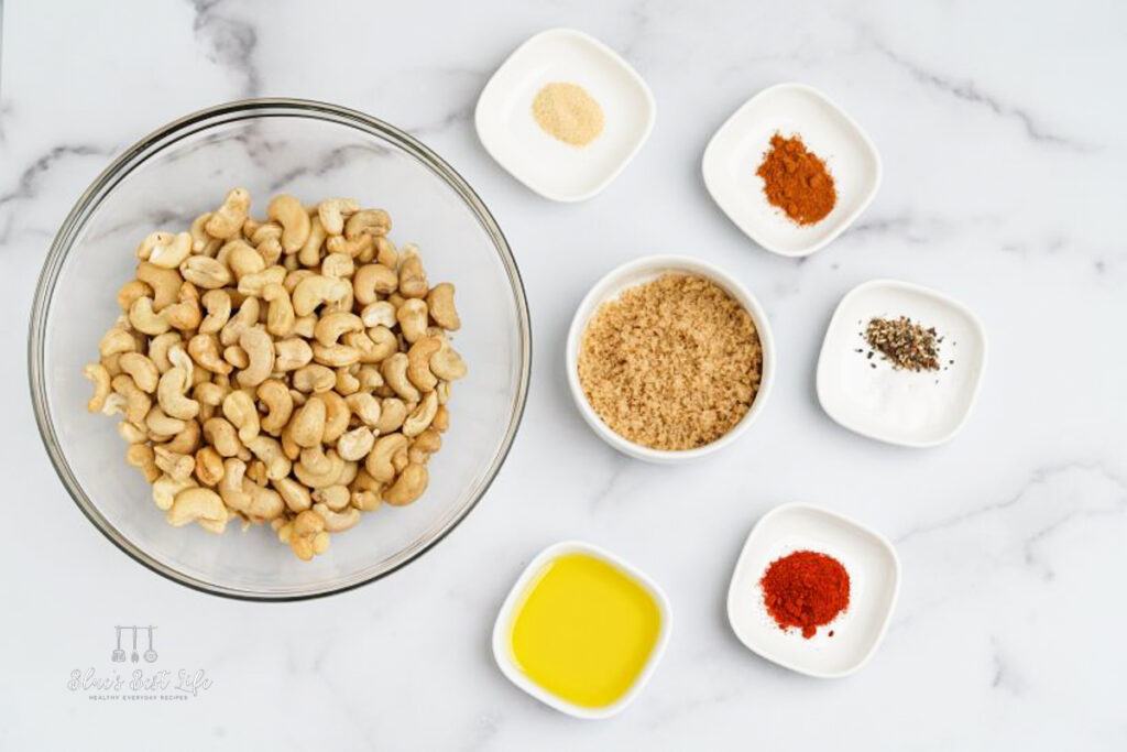 ingredients measured into bowls for roasted cashews