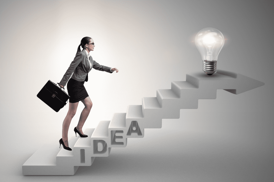 woman climbing steps for ideas on how to form your own opinions